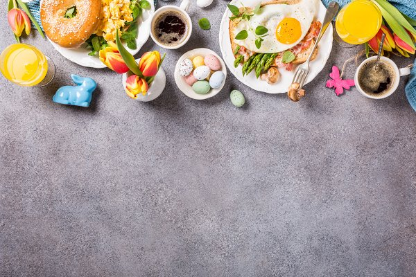 Easter holiday breakfast flat lay