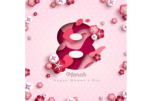 Women's day pink greeting card