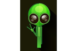 Cartoon Character Funny Alien Isolated on Grey Gradient Background.