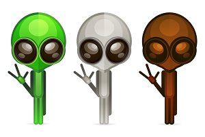 Alien face icon set, humanoid head