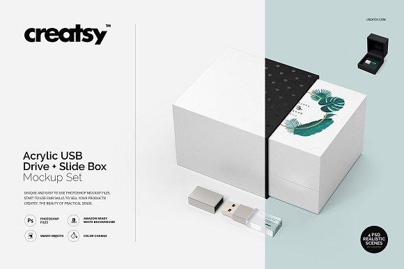 Acrylic USB Drive Slide Box Mockup