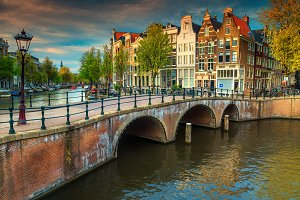 Amsterdam cityscape with sunset