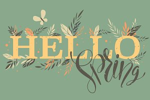 Hello Spring words with branches
