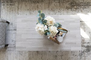 Flowers on Stone Coffee Table