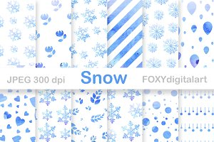 Snow Flakes Christmas Digital Paper