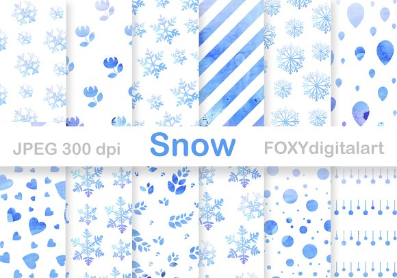 Snow Flakes Christmas Digital Paper  in Patterns