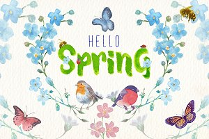 Watercolor spring clipart set