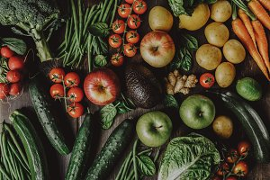 Assortment of tasty vegetables above