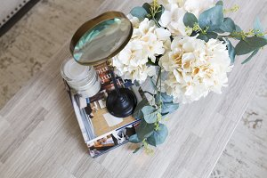 Magnifying Glass with Flowers