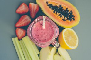 Different fruits and smoothie