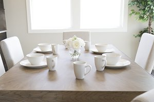 White Dishes on Wood Table