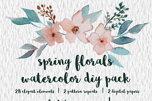 Spring Floral Watercolor DIY Pack