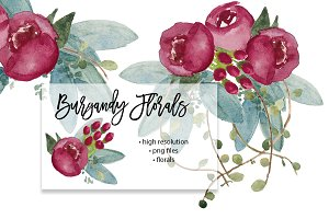 Burgandy Watercolor Wedding Florals