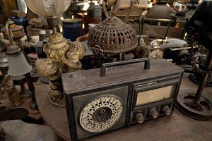 Old radio in antique shop in Indonesia.