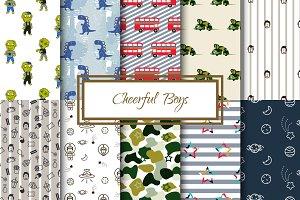 Cheerful Boys - Seamless Patterns