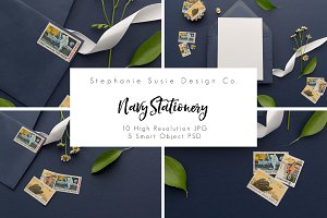 Navy Stationery Lay Flat Mock Up
