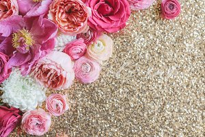 Styled Stock Photo, Flowers, Sequins