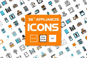 36x3 Home appliances icons