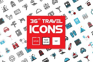 36x3 Travel icons