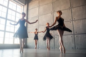 Four beautiful young ballerina