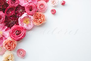 Styled Stock Photo, Pink Flowers 5