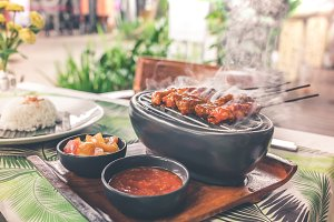 Indonesian chicken satay or Sate Ayam. Indonesian balinese traditional food. Bali island.