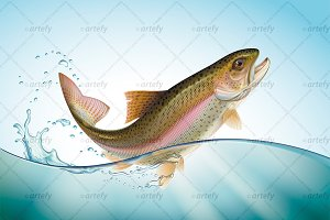 Jumping rainbow trout in water