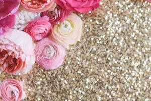 Pink Flower Photo, Gold Sequins