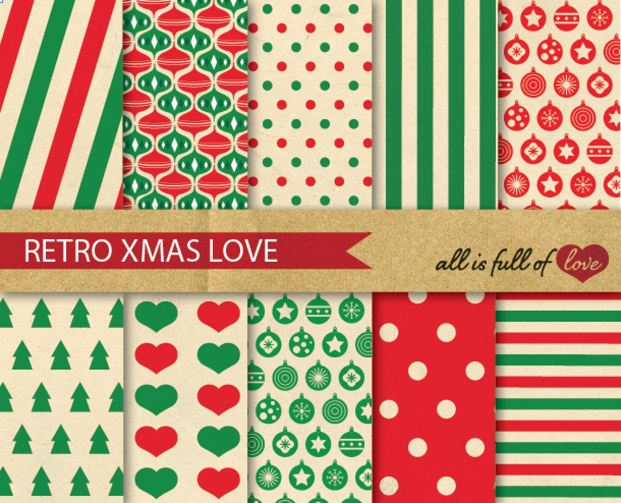 vintage christmas background papers