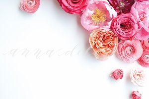 Styled Stock Photo, Pink Flowers 6