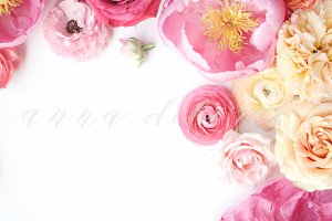 Styled Stock Photo, Pink Flowers 7