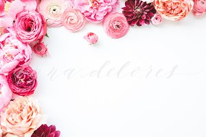 Styled Stock Photo, Pink Flowers 8