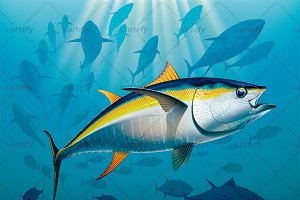 Yellowfin tuna swimming in the depth