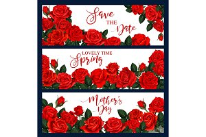 Vector banners with red roses