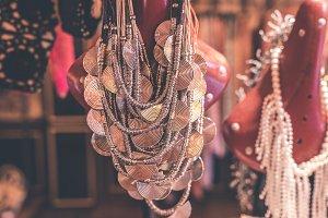 Women bijouterie accessories in the store. Bali island.