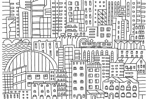 Big city background texture skyscraper sketch buildings line skeleton strokes Modern architecture landscape. Hand drawn vector stock illustration.