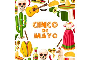 Cinco de Mayo festive card of mexican fiesta party