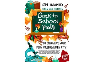 Back to School vector autumn party poster