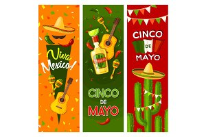 Cinco de Mayo mexican fiesta party greeting banner
