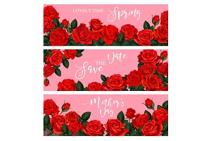 Blooming spring rose flower greeting banner design