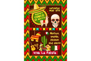 Mexican vector poster for Cinco de Mayo fiesta