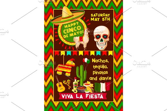 Mexican Vector Poster For Cinco De Mayo Fiesta