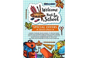 Back to School vector sale checkered page poster