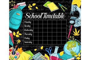 School vector timetable on black chalkboard