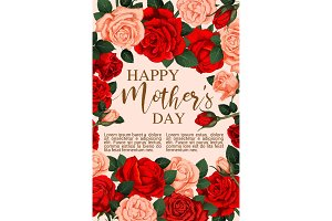 Mother Day greeting card with frame of rose flower