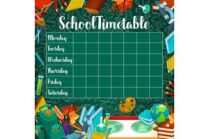 School vector timetable on green chalkboard