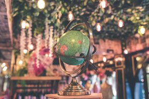 Vintage globe close up in the antique store on Bali island, Indonesia.