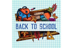 Back to School vector sketch pattern poster