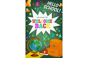 Back to School vector welcome chalkboard poster