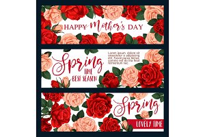 Vector banners with spring flowers